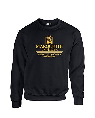NCAA Marquette Golden Eagles Classic Seal Crew Neck Sweatshirt, Medium, Black (Ncaa Marquette Golden Eagles Seal)