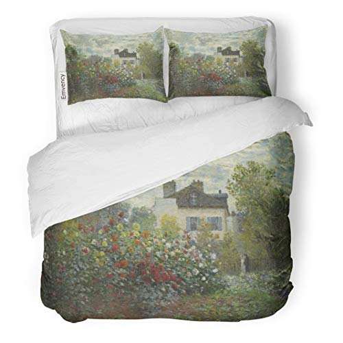 (Tarolo Bedding Duvet Cover Set The Artist Garden in Argenteuil by Claude Monet 1873 French Impressionist Painting Oil on Canvas This Alternate 3 Piece Queen 90
