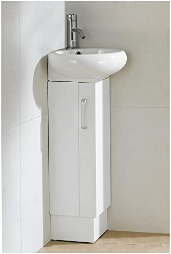 Fine Fixtures MI15WH Milan Matte Vanity with Vitreous China Sink, 15 , White