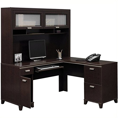 Bush Furniture Tuxedo L-Shape Wood Computer Desk Set with Hutch in Mocha Cherry by Bush