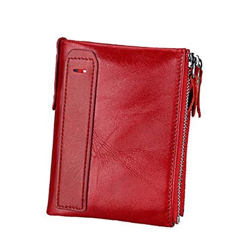 (Men RFID Blocking Wallet Small Vintage Crazy Horse Leather Short Purse Bifold (4.8