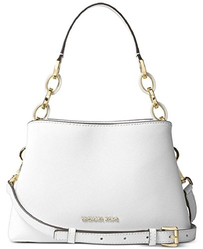 Michael Kors - Leather East West Portia Shoulder Handbag - Optic White by Michael Kors