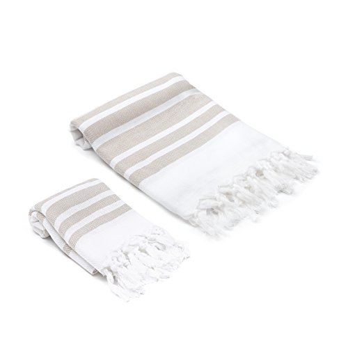 (Olive&Linen Herringbone Turkish Towel Set (Desert Sand))