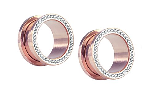- Forbidden Body Jewelry 16mm (5/8 Inch) Rose Gold IP Surgical Steel Crystal Rimmed Screw Fit Tunnel Plugs