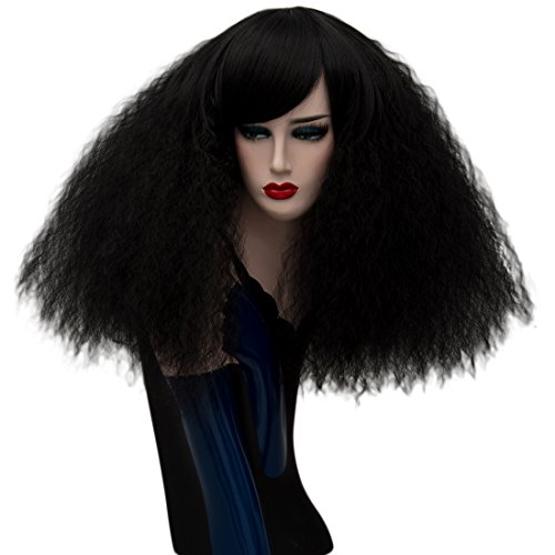 ELIM Short Curly Wigs Black Cosplay Wigs Fluffy