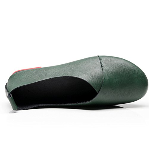 Plates Rondes Matchlife Chaussures Cuir Retro Femmes Style2 vert zvqq6B1gnw