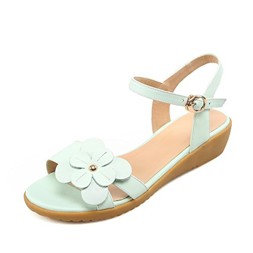 Open Ladies LightGreen Cow Leather Solid Sandals 1TO9 Toe qSn7ExqZ