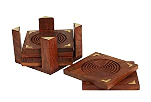 Fine Wooden Square Drink Coasters Set of 6 and Holder Geometric Design with Brass Inlay Hand Carved Barware Home Kitchen Tabletop Accessory Decor