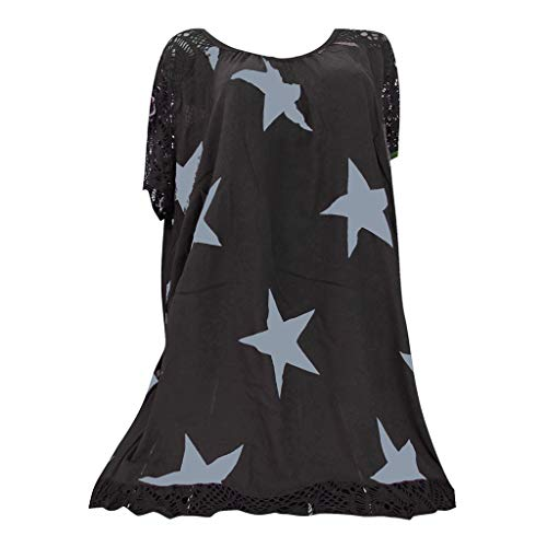 YKARITIANNA Women Star Pattern 2019 Soft Tops Punk Rock T Shirt Lace Patchwork Floral Blouse Tee