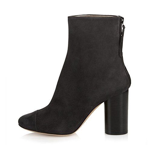 Stiefel 071101 Fringed TLJ Black Party Pumps 40 Heels Blockabsatz Reißverschluss Wildleder KJJDE Damen High Hqw5g5