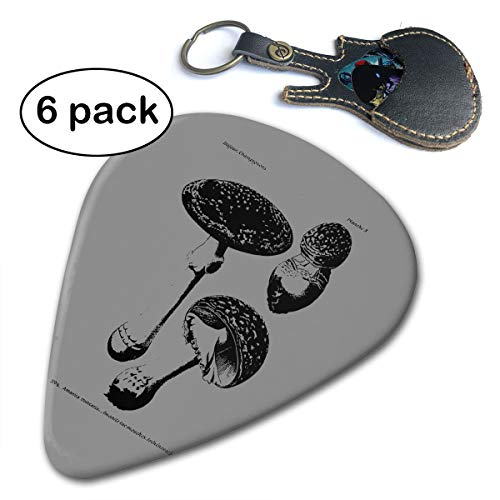 (WB - Fly Agaric Mushroom 351 Shape Classic Guitar Picks (6 Pack) For Electric Guitar, Acoustic Guitar, Mandolin, And Bass. Gift Leather Key Chain Pick Holder (0.46mm, 0.71mm, 0.96mm))