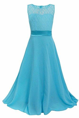 iEFiEL Big Girls Lace Chiffon Bridesmaid Dress Dance Ball Party Maxi Gown Blue 10