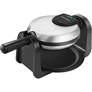 BLACK+DECKER WM1404S Belgian Flip Waffle Maker with Non Stick Extra Deep Waffle Grids, Foldable Handle Compact Design, & Removable Drip Tray, Stainless Steel Waffle Maker