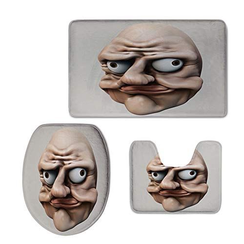 3 Piece Toilet lid Cover mat Set,Humor,Grumpy Internet Troll Face Trippy Gestures Ugly Post Meme Joke Image Decorative,Egg Shell Tan,Printed -