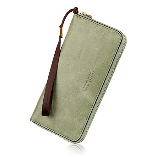 Wallets for Women, Long Leather Checkbook Card Holder Purse Zipper Buckle Elegant Clutch Ladies Wallet Coin Purse (Grass green)
