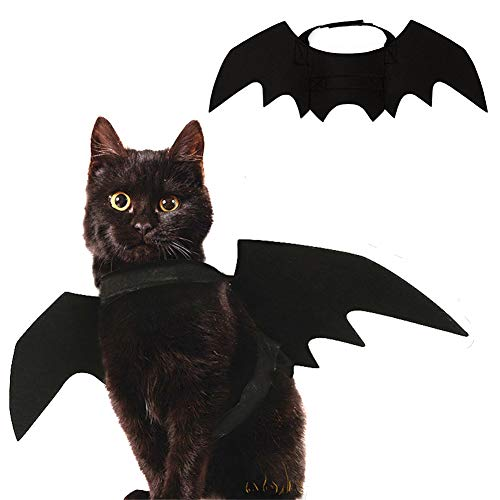 Dora Bridal Hhalloween Pet Cat Costume Bat Black Wing Costumes Apparel for Cats and Small Dogs, Adjustable Velcre Neck Closure, Perfect for Party and Daily ()