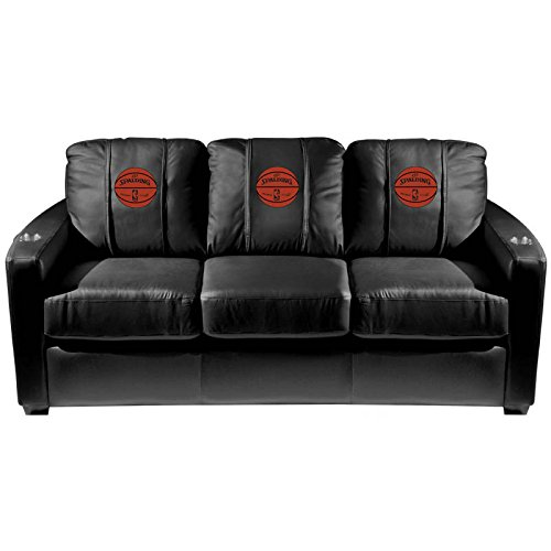 XZipit NBA Silver Sofa with Spalding NBA Ball Logo Panel, Black