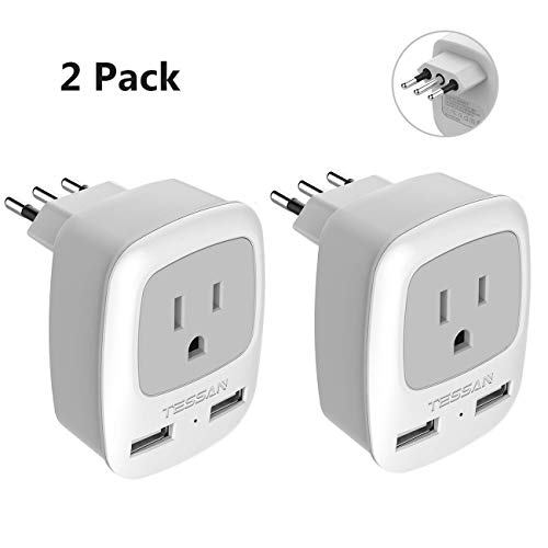 Italy Travel Plug Adapter 2 Pack, TESSAN Grounded International Power Outlet Adaptor with 2 USB Ports, Charger for USA to Chile Uruguay Italian (Type L)