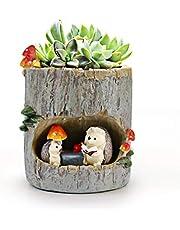 huking Leuke Dierlijke Plant Pots Mini Ronde Vetplanten Potten met Drainage Faux Hars Bloem Pot Egel Thema Thuis Indoor Office Decoratieve