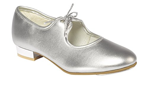 Tappers & Pointers PU Upper Tie Cuban Heel Tap Shoes Silver roiif9AKO