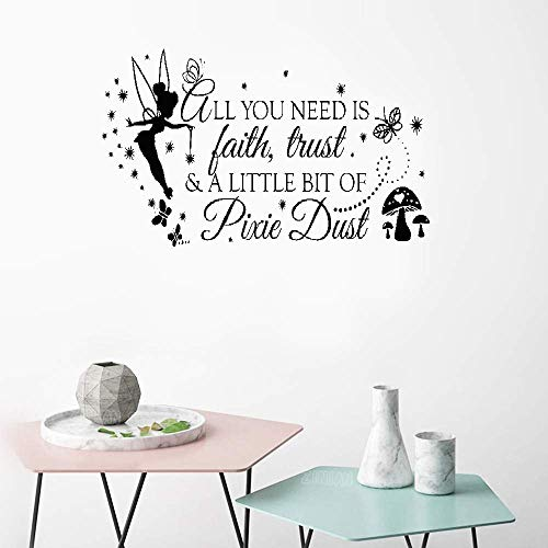 Hesiu Wall Art Stickers Quotes and Sayings Wall Decal All You Need is Faith Trust and A Little Bit of Pixie Dust for Nursery Kids Room Boys Room