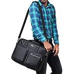 K London Black Vegan Leather Handmade Men Laptop Bag Cross Over Shoulder Messenger Bag Office Bag (1105_Black)