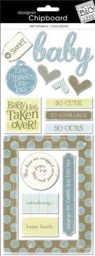 me & my BIG ideas Self-Adhesive Designer Chipboard Stickers, Kay-Baby Boy Baby Chipboard