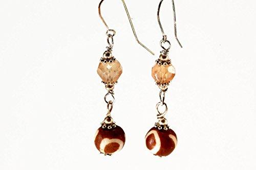Carnelian Dangling Earrings (Dangling Yellow Citron Earrings with Bone Bead and Sterling Silver Ear Wire)