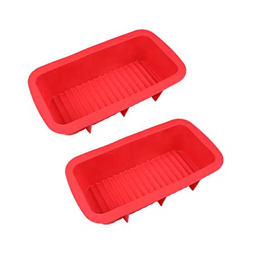 Bakers Premium White Chocolate (Baker Boutique Silicone Loaf Pan Baking Soap Mold Set for Homemade Bread Cake Non Stick Eco-Friendly, Red, 2 Pcs)