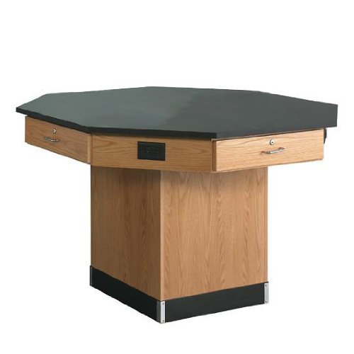 """Diversified Woodcrafts 1514KF Solid Oak Wood Octagon Workstation with Pedestal Base and Flat Phenolic Resin Top, 56"""" Width x 36"""" Height x 56"""" Depth"""