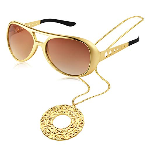 Disco Accessory Set 1 Pair 50's 60's Rock Star Gold Celebrity Sunglasses and 1 Piece Disco ()