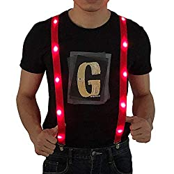 LED Light up Suspenders In Red Color
