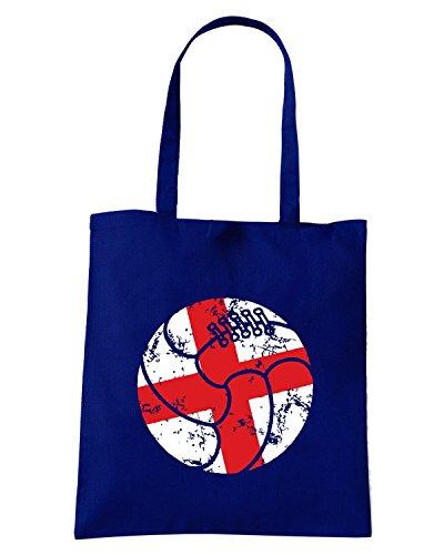 T-Shirtshock - Bolsa para la compra WC0331 ENGLAND T-SHIRT - ENGLAND RETRO BALL Azul Marino