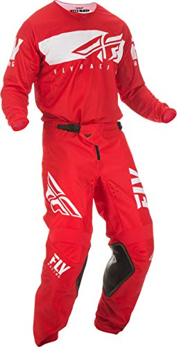 Fly Racing - 2019 Kinetic Shield (Mens RED & White X-Large/36W) MX Riding Gear Combo Set, Motocross Off-Road Dirt Bike Light Weight Durable Jersey & Mesh Comfort Liner Stretch Pre Shaped Knees Pant
