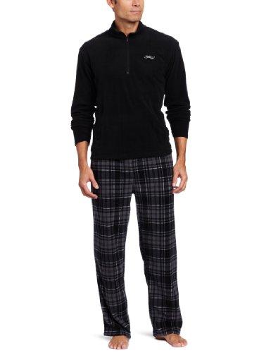 Intimo Men's Gift Set Quarter Zip Fleece Top With Printed Micro Fleece Pant Set, Black, X-Large