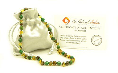 Amber Teething Necklace - Baby Necklace- Unisex - Various Size - Hand-Made from Baltic Amber and African Jade Beads (Green Amber/African Jade, 12.6in (32cm))