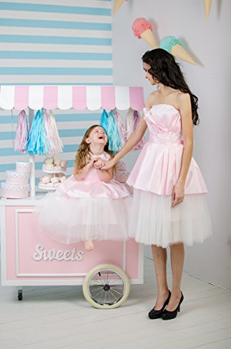 Pink mother daughter matching dresses Girls Tutu dress, full skirt, party lace dress, birthday first communion strapless dress Mommy and Me by MatchingLook