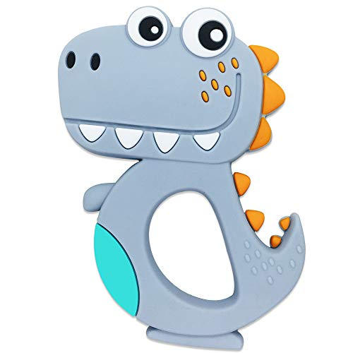 Food Grade Silicone Grey Crocodile Baby Teething Teether For Baby Relief Tooth Pain