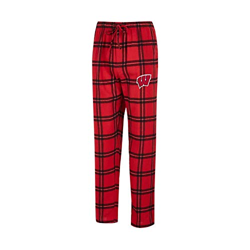 Plaid Logo Elastic Flannel - Concepts Sport University of Wisconsin Badgers Men's Pajama Pants Plaid Pajama Bottoms (X-Large)