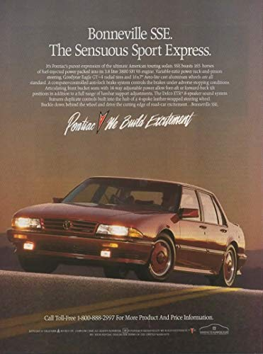 "Magazine Print Ad: Red 1989 Pontiac Bonneville SSE, 3.8 L 3800 SFI V6 engine,""The Sensuous Sport Express"""