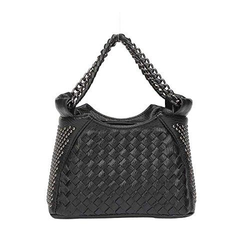 Borsa Chiusura Con Cerniera Mini Borsa A Tracolla Stile Tessuto Sacchetto Di Modo Delle Donne Rivetto,Black-OneSize