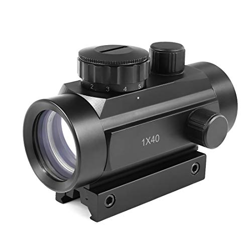 Twod Tactical 1 x 40mm Red Green Dot Sight Rifle Scope with 11mm/20mm Weaver P-i-c-a-t-i-n-n-y Mount