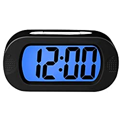 ZHPUAT Colorful Light Digital Alarm Clock with Snooze, Simple Setting, Progressive Alarm, Battery Operated, Shockproof, The Ideal Gift Clock For Kids & Convenient for Travel (Black)