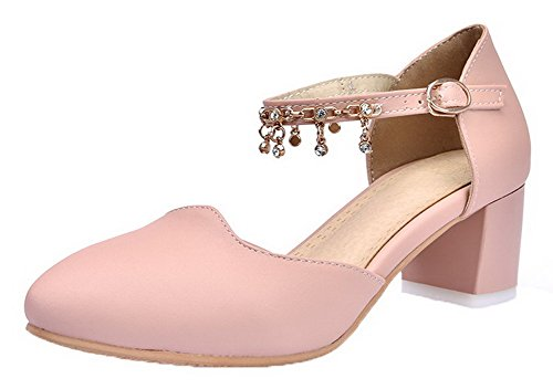 Toe Women's WeiPoot Closed EGHLG005000 Heels Sandals Pu Pink Buckle Kitten Solid IAwAF