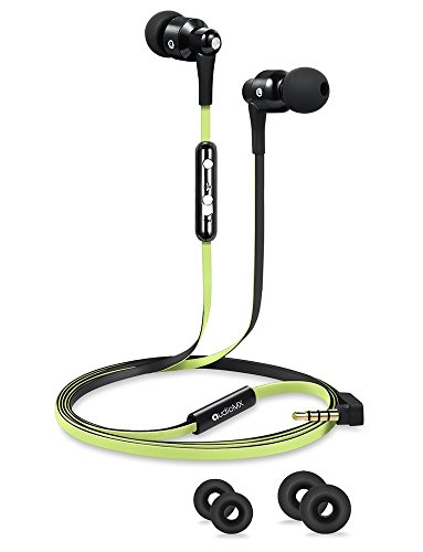 Cable Em Cable - AudioMX EM-11G in-Ear Headphones with Mic & Volume Control, Green and Black Flat Cables, 3.5mm Jack