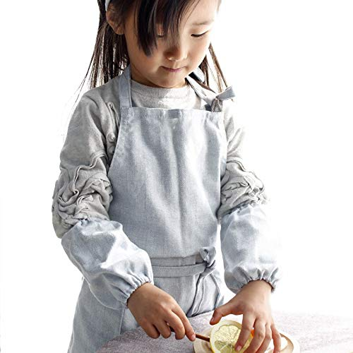 Aprons for Kids Adult Child Parenting Kindergarten Pure Color Stripe Cotton Workwear Kitchen Baking Furniture by Aprons (Image #5)