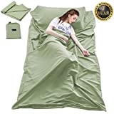 Cotton Sleeping Bag Liner Travel and Camping Sheet Lightweight Compact Sleep Bag Sack Picnic (82.7 X 63 Inch, Green 002)
