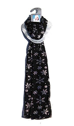 Alora Snowflake Splendor Designer Scarf, Black/Silver, One Size