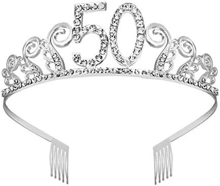 Frcolor 50.a corona de tiara de cumpleaños corona cristalina ...