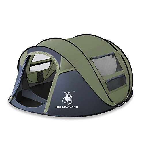 ADIPIN Outdoor Pop Up Tent 4 Person with Sky-window, Automatic and Instant Setup Tents, Sun Shelter,Water Resistant,Ideal Shelter for Casual Family Camping Hiking (Army Green) For Sale